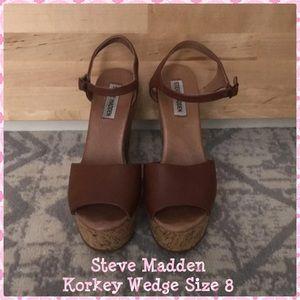 Steve Madden Korkey Wedge Cognac size 8